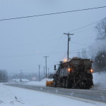 A Maine Department of Transportation plow truck traveling south on U.S. Route 1 in Mars Hill on Jan. 26.