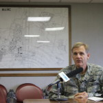 Brig. Gen. Douglas Farnham, adjutant general of the Maine National Guard, speaks about the Maine Military Authority's contract with the Massachusetts Bay Transportation Authority during a press conference on Sept. 28, 2016, at the Loring Commerce Centre in Limestone.