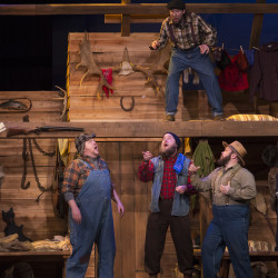 "Actors perform a scene from ""Lumberjacks in Love,"" the new musical opening Feb. 2 at Penobscot Theatre Company in Bangor."