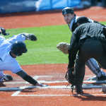 Tyler Schwanz (left), pictured during a March 2016 game in Orono, is among several returning veterans for the University of Maine baseball team. The Black Bears were picked to finish fourth in the America East preseason coaches poll.