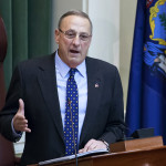 Gov. Paul LePage addresses the chamber during the 2017 State of the State address at the State House in Augusta Tuesday.
