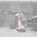 Snow blankets the supersized L.L. Bean Boot outside the Freeport retailer's Main Street store in this January 2015 file photo.