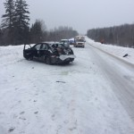 The scene of a single-vehicle crash on Route 11 in Portage Thursday afternoon, Feb. 9.