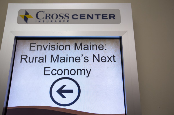 A sign directs people to the &quotRural Maine's Next Economy&quot conference, which was a daylong event that focused on the economy of rural Maine and opportunities to grow it, on Friday at the Cross Insurance Center in Bangor.