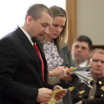 Matthew Davis, who was convicted of murdering an Oakfield couple in 2013, reads from a prepared statement during his sentencing on Friday in Houlton Superior Court in Houlton.