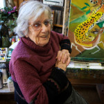 Artist Dahlov Ipcar talks about about her painting routine on Nov. 9, 2015, in Georgetown. Her first solo show was in 1939 at the Museum of Modern Art in New York.