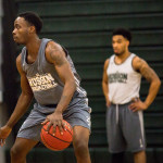 Husson University senior Raheem Anderson scored 24 points on Saturday to lead the Eagles to a North Atlantic Conference victory over Castleton University in Bangor. Micky Bedell | BDN
