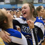 Hermon teammates celebrate after learning they placed first during the Class B cheering state championships at the Augusta Civic Center on Saturday. Ashley L. Conti | BDN
