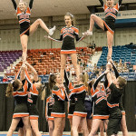 Brewer performs its cheering routine en route to a Class A runner-up finish during the Maine State Championships on Saturday at the Augusta Civic Center.
