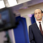 Senior White House Adviser Stephen Miller waits to go on the air in the White House Briefing Room in Washington, Feb. 12, 2017.