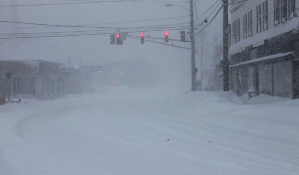Snow falls on Monday on East Main Street in Dover-Foxcroft.
