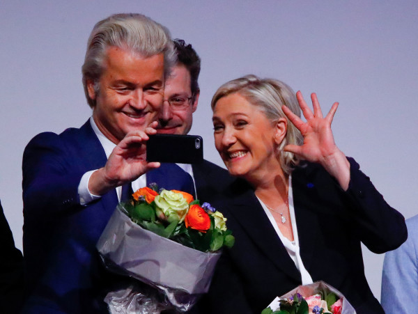 France's National Front leader Marine Le Pen and Netherlands' Party for Freedom (PVV) leader Geert Wilders take a Selfie during a European far-right leaders meeting to discuss about the European Union, in Koblenz, Germany, Jan. 21, 2017.