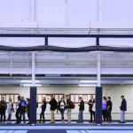 Orono residents waiting to register to vote line a section of the indoor track at the University of Maine New Balance Student Recreation Center in Orono, Nov. 8, 2016.