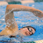 Emma Waddell of Bangor, pictured racing during the 2014 high school season, recently won three events swimming for Williams College at the New England Small College Athletic Conference championships.