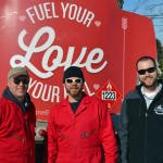 From left: Colby & Gale Inc. drivers Ralph Eugley and Tim Pratt and manager Matt Poole with a specially decorated oil truck on Valentine's Day. Colby & Gale was participating in a statewide event called Fuel Your Love.