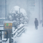 A man makes his way down Hammond street during a snowstorm on Monday in Bangor. The recent snowfall could bring some relief to the drought which has persisted for much of the last year.