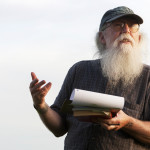 Gary Lawless reads a poem during the inaugural Beech Hill full moon poetry reading event at Beech Hill Preserve in Rockport in a 2015 file photo.