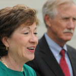 Sen. Susan Collins (left) and Sen. Angus King can be seen in this May 2014 file photo.