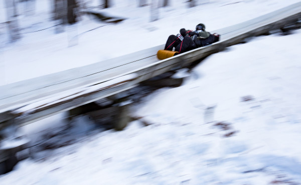 Participants of the 2- and 3-person division in the U.S. Toboggan National Championships do their first runs on the Jack Williams Toboggan Chute at the Camden Snow Bowl on Feb. 10.