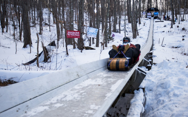 Participants of the 2- and 3-person division in the U.S. Toboggan National Championships do their first runs on the Jack Williams Toboggan Chute at the Camden Snow Bowl last Friday.