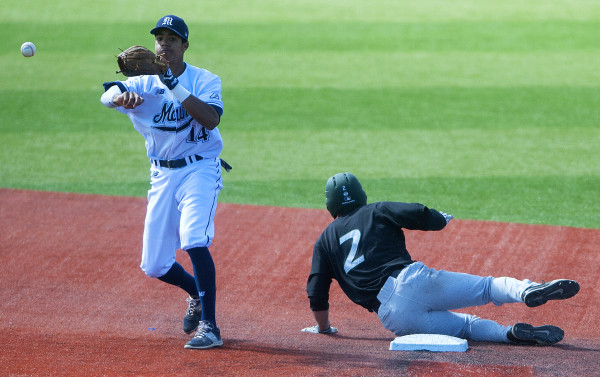Shortstop Jeremy Pena (left) of the University of Maine, pictured during a game in 2016, is among the key returnees this season for the Black Bears baseball team. UMaine opens its season on Friday at Winthrop.
