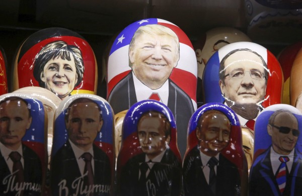 Painted Matryoshka dolls, or Russian nesting dolls, bearing the faces of U.S. Republican presidential nominee Donald Trump, German Chancellor Angela Merkel, French President Francois Hollande and Russian President Vladimir Putin are displayed for sale at a souvenir shop in central Moscow, Russia, November 7, 2016.