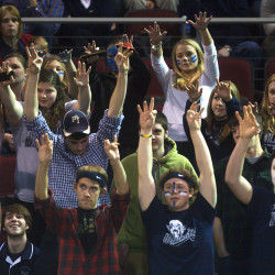 Presque Isle fans cheer on their team during their 2015 Eastern Maine basketball championship tournament game against Gardiner at the Cross Insurance Center in Bangor.