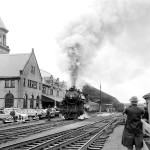 Steam locomotive 470 chugged into Union Station marking the last visit to Bangor of a Maine Central steam train in this 1954 file photo.
