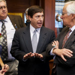 House Minority Leader Ken Fredette, R-Newport, (second from right) speaks with Rep. John Martin, D-Eagle Lake, (right) about balloting particulars while the House wrangles over electing a Speaker at the State House in Augusta, Dec. 3, 2014. Assistant Minority Leader Ellie Espling, R-New Gloucester, (from left) and Rep. Jeff Timberlake, R-Turner listen.