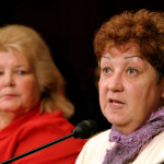 "Norma McCorvey, the anonymous plaintiff known as Jane Roe in the Supreme Court's landmark 1973 Roe vs. Wade ruling legalizing abortion in the United States, testifies before the Senate Judiciary Committee along with Sandra Cano of Atlanta, the ""Doe"" in the Doe v. Bolton Supreme Court case, on Capitol Hill in Washington, D.C., June 23, 2005."