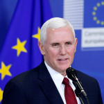 Vice President Mike Pence briefs the media at the EU Commission headquarters in Brussels, Belgium, Feb. 20, 2017.