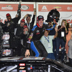 ARCA Series driver Austin Theriault (52), a native of Fort Kent, celebrates winning the Lucas Oil Complete Engine Treatment 200 at Daytona International Speedway on Saturday, Feb. 18.