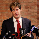 Milo Yiannopoulos addresses the media during a news conference in New York, U.S., February 21, 2017.