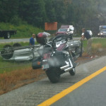A crash on Interstate 295 in Falmouth caused traffic to back up in both directions, Aug. 29, 2013.