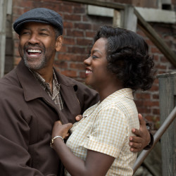 "Denzel Washington as Troy Maxson and Viola Davis as Rose Maxson in a scene from the movie ""Fences"" from Paramount Pictures."