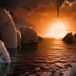 An artist's depiction shows the possible surface of TRAPPIST-1f, on one of seven newly discovered planets in the TRAPPIST-1 system that scientists using the Spitzer Space Telescope and ground based telescopes have discovered, according to NASA, in this illustration released Feb. 22, 2017.