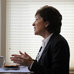 U.S. Sen. Susan Collin is seen recently at her home in Bangor.
