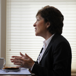 Sen. Susan Collins, R-Maine, speaks at her home in Bangor, Jan. 4, 2016.