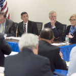U.S. Rep. Chellie Pingree, U.S. Sen. Angus King, Director of National Drug Control Policy Michael Botticelli and U.S. Attorney Thomas Delahanty II participate in an August 2015 round-table discussion in Brewer about heroin addiction.