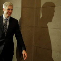 U.S. Supreme Court nominee Judge Neil Gorsuch arrives for a meeting with Sen. Ted Cruz (R-Texas) on Capitol Hill in Washington, Feb. 2, 2017.