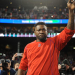 Boston Red Sox designated hitter David Ortiz (34) salutes the fans after the loss against the Cleveland Indians in game three of the 2016 ALDS playoff baseball series at Fenway Park.
