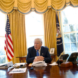 U.S. President Donald Trump gives an interview from his desk in the Oval Office at the White House in Washington, Feb. 23, 2017.