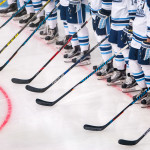 University of Maine Orono ice hockey players line up before a home game, Oct. 14, 2016.