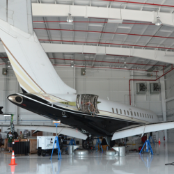 Tempus Jets Bombardier Global Express undergoing maintenance in the Newport News, Virginia, in 2013.