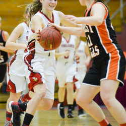 Alexandra Lessard from Forest Hills High School is able to get her hands on a ball controlled by Vinalhaven's Gilleyanne Davis-Oakes in the second half of the Class D Regional Final Saturday in Augusta.   Amber Waterman Thomas