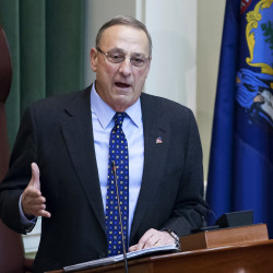Gov. Paul LePage addresses the chamber during the 2017 State of the State address at the State House in Augusta, Feb. 7, 2017.