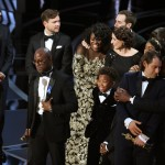 Barry Jenkins and the cast of Moonlight after winning the Oscar for Best Picture.
