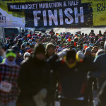 Half marathon runners make their way through downtown Millinocket for the start of the second Millinocket Marathon and Half Saturday. The free race drew hundreds of people to the town.