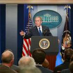 President George W. Bush makes a point during his final news conference in the Brady press briefing room at the White House in Washington, D.C., Jan. 12, 2009.