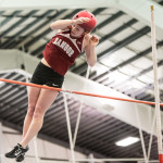 Rihan Smallwood of Bangor High School, pictured during the 2016 PVC-Eastern Maine Indoor Track League Championship, eclipsed her own league pole vault record on Saturday by clearing the bar at 10 feet, 9 inches.
